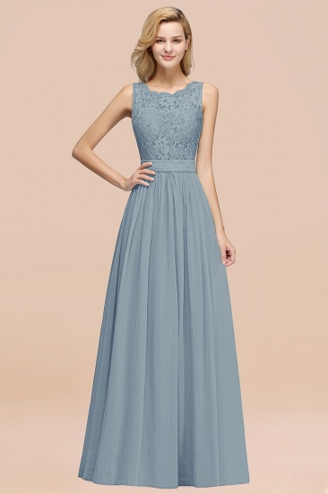 Elegant Chiffon Lace Scalloped Sleeveless Ruffle Bridesmaid Dresses_40