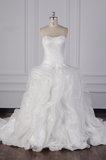 Stylish Organza Strapless White Wedding Dress Ruffles Sleeveless Bridal Gowns On Sale