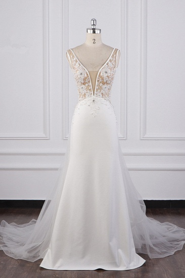 BMbridal Chic Sheath White Satin V-neck Wedding Dress Tulle Lace Appliques Bridal Gowns Online_1