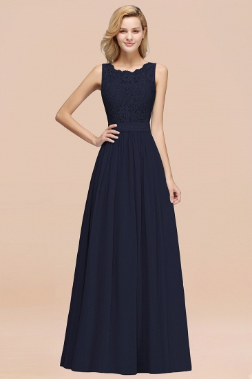 Elegant Chiffon Lace Scalloped Sleeveless Ruffle Bridesmaid Dresses_28