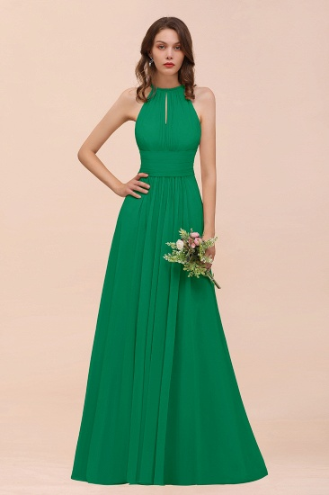 Elegant Chiffon Jewel Ruffle Champagne Affordable Bridesmaid Dress Online_49