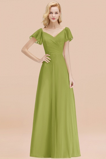 Elegent Short-Sleeve Long Bridesmaid Dress Online Yellow Chiffon Wedding Party Dress_34