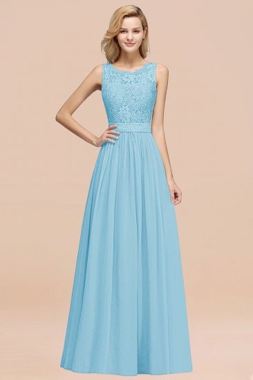 Elegant Chiffon Lace Scalloped Sleeveless Ruffle Bridesmaid Dresses_23