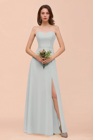 BMbridal Affordable Strapless Front Slit Long Dusty Sage Bridesmaid Dress_38