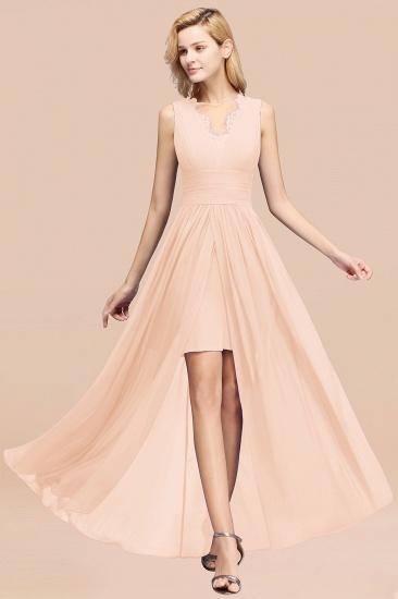 BMbridal Elegant Chiffon Lace Jewel Sleeveless Bridesmaid Dress with Ruffle_5