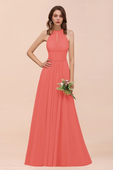 Elegant Chiffon Jewel Ruffle Champagne Affordable Bridesmaid Dress Online_7