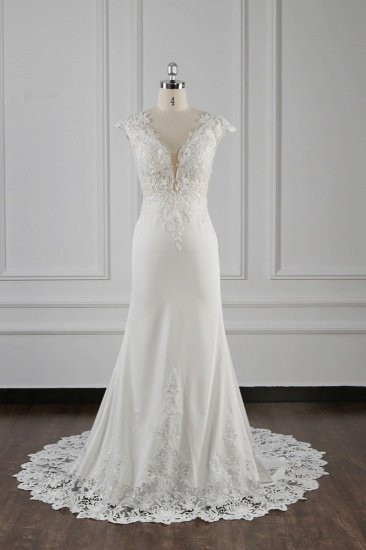 BMbridal Elegant V-neck Chiffon Lace Wedding Dress Beadings Appliques Mermaid Bridal Gowns Online_2