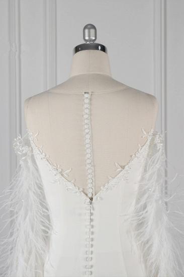 Chic Jewel Sleeveless White Chiffon Wedding Dress Mermaid Appliques Bridal Gowns with Fur Onsale_7