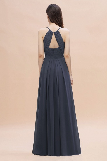 BMbridal Simple Spaghetti Straps Stormy Chiffon Bridesmaid Dress with Ruffles On Sale_3