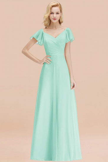 Elegent Short-Sleeve Long Bridesmaid Dress Online Yellow Chiffon Wedding Party Dress_36