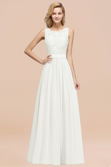 Elegant Chiffon Lace Scalloped Sleeveless Ruffle Bridesmaid Dresses_2