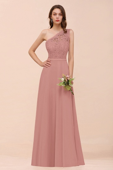 BMbridal New Arrival Dusty Rose One Shoulder Lace Long Bridesmaid Dress_50