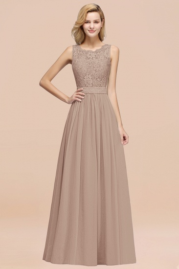Elegant Chiffon Lace Scalloped Sleeveless Ruffle Bridesmaid Dresses_16