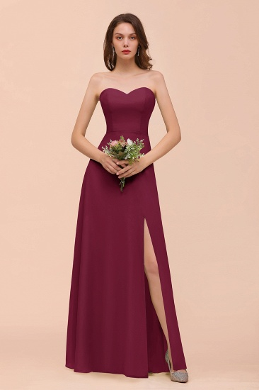 BMbridal Affordable Strapless Front Slit Long Dusty Sage Bridesmaid Dress_44