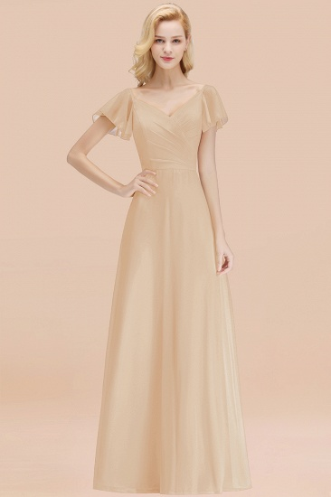 Elegent Short-Sleeve Long Bridesmaid Dress Online Yellow Chiffon Wedding Party Dress_14