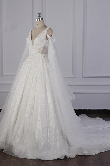 BMbridal Luxury V-Neck Beadings Wedding Dress Tulle Sleeveless Sequined Bridal Gowns On Sale_4