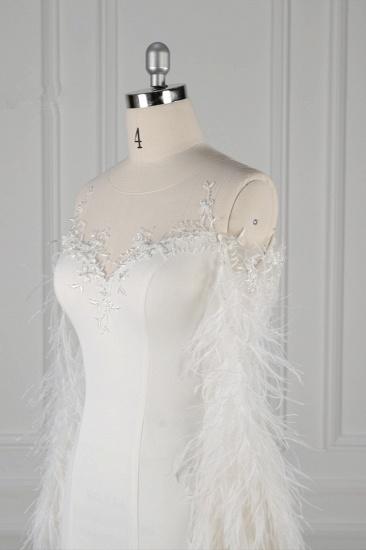 Chic Jewel Sleeveless White Chiffon Wedding Dress Mermaid Appliques Bridal Gowns with Fur Onsale_6