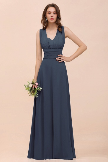 New Arrival Dusty Blue Ruched Long Convertible Bridesmaid Dresses_39