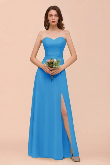 BMbridal Affordable Strapless Front Slit Long Dusty Sage Bridesmaid Dress_25