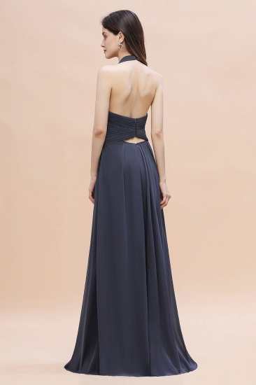 Gorgeous Halter Chiffon Ruffles Bridesmaid Dress with Front Slit Online_3