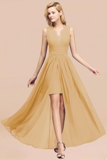 BMbridal Elegant Chiffon Lace Jewel Sleeveless Bridesmaid Dress with Ruffle_13