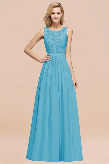 Elegant Chiffon Lace Scalloped Sleeveless Ruffle Bridesmaid Dresses_24