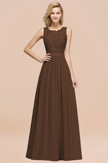 Elegant Chiffon Lace Scalloped Sleeveless Ruffle Bridesmaid Dresses_12