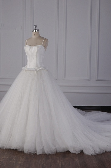 BMbridal Simple Spaghetti Straps Satin Wedding Dress Tulle Ruffles Sleeveless Bridal Gowns Onlien_4