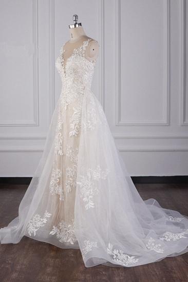 BMbridal Elegant Jewel Tulle Lace Wedding Dress Appliques Sleeveless Mermaid Bridal Gowns Online_3