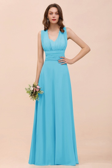 New Arrival Dusty Blue Ruched Long Convertible Bridesmaid Dresses_24