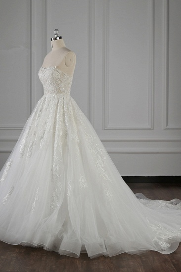 Elegant Strapless White Lace Wedding Dress Sleeveless Appliques Ruffle Bridal Gowns Online_4