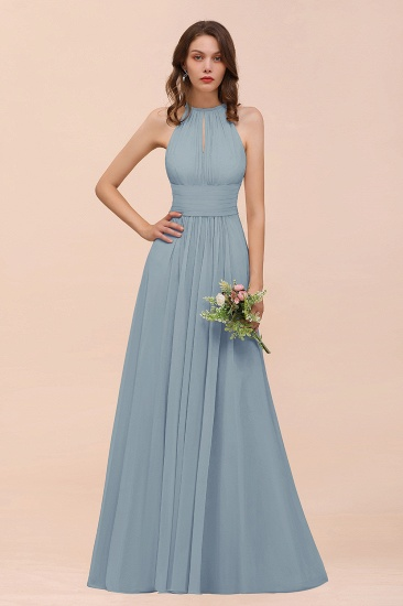 Elegant Chiffon Jewel Ruffle Champagne Affordable Bridesmaid Dress Online_40