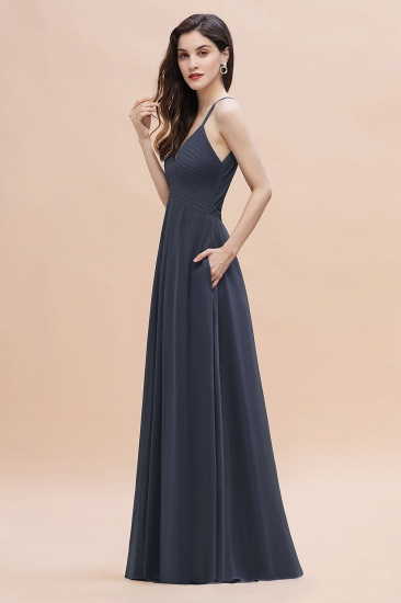 BMbridal Simple Spaghetti Straps Stormy Chiffon Bridesmaid Dress with Ruffles On Sale_6