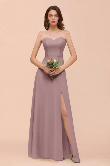BMbridal Affordable Strapless Front Slit Long Dusty Sage Bridesmaid Dress_37