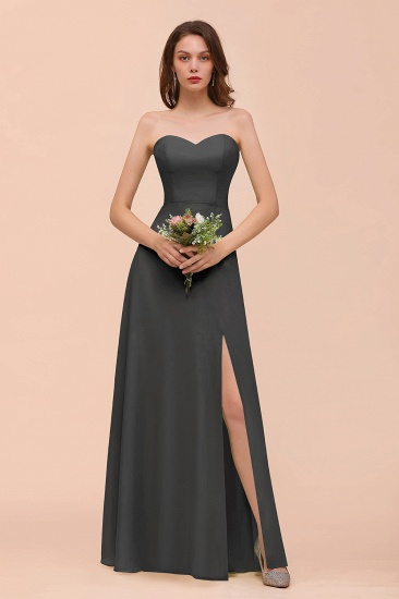 BMbridal Affordable Strapless Front Slit Long Dusty Sage Bridesmaid Dress_46