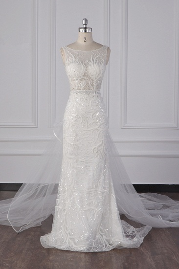Glamorous Jewel Beadings Sheath Wedding Dress Tulle Beadings Appliques Bridal Gowns On Sale_1