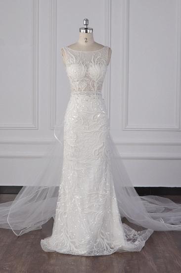 BMbridal Glamorous Jewel Beadings Sheath Wedding Dress Tulle Beadings Appliques Bridal Gowns On Sale_1
