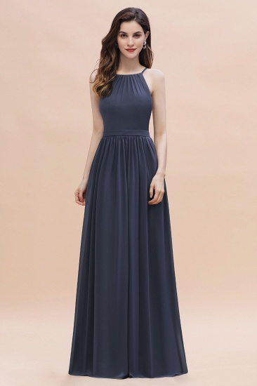 Affordable Jewel Sleeveless Stormy Chiffon Bridesmaid Dress with Ruffles Online