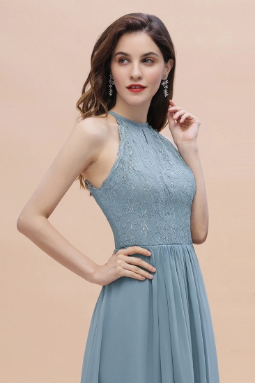 BMbridal Elegant Jewel Lace Appliques Dusty Blue Chiffon Bridesmaid Dress On Sale_10