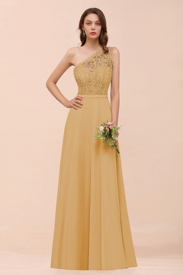 New Arrival Dusty Rose One Shoulder Lace Long Bridesmaid Dress_13