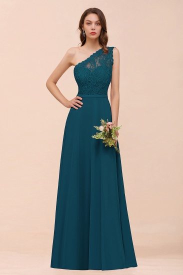 New Arrival Dusty Rose One Shoulder Lace Long Bridesmaid Dress_27