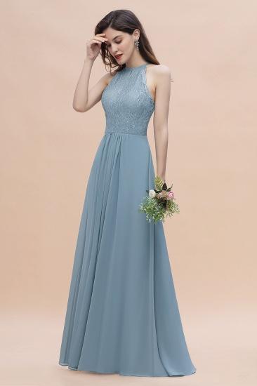 BMbridal Elegant Jewel Lace Appliques Dusty Blue Chiffon Bridesmaid Dress On Sale_6