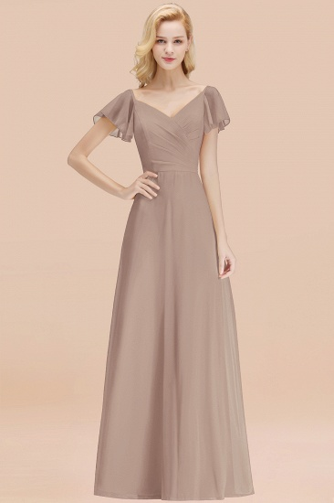 Elegent Short-Sleeve Long Bridesmaid Dress Online Yellow Chiffon Wedding Party Dress_16