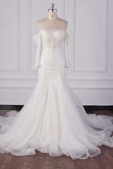 Gorgeous Strapless White Tulle Lace Wedding Dress Long Sleeves Beadings Bridal Gowns On Sale_1