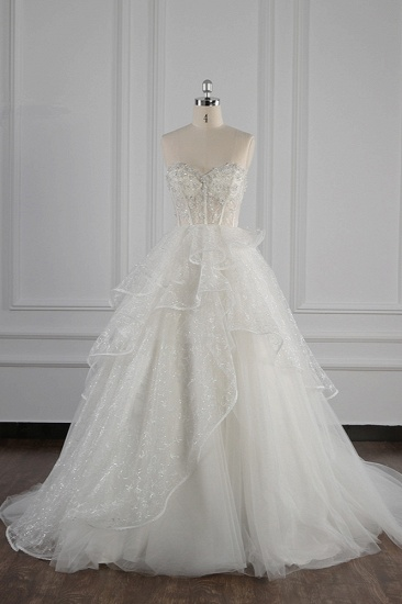 BMbridal Glamorous Ball Gown Strapless Beadings Wedding Dress Sequined Layers Tulle Bridal Gowns On Sale_1