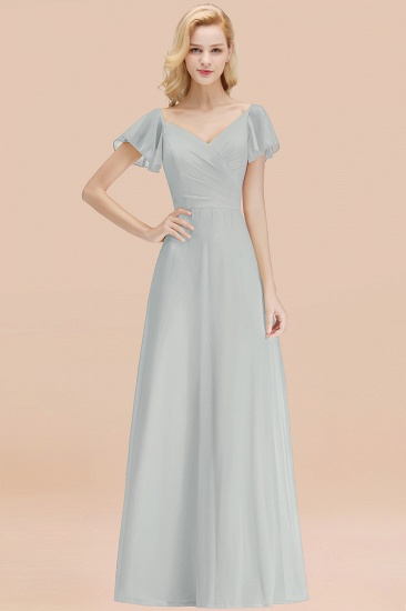 Elegent Short-Sleeve Long Bridesmaid Dress Online Yellow Chiffon Wedding Party Dress_38