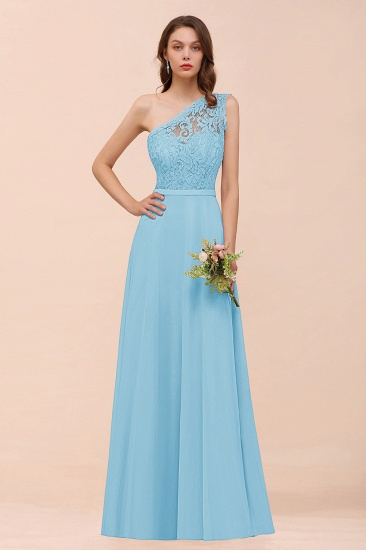 New Arrival Dusty Rose One Shoulder Lace Long Bridesmaid Dress_23