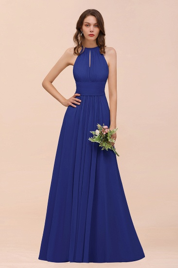 Elegant Chiffon Jewel Ruffle Champagne Affordable Bridesmaid Dress Online_26
