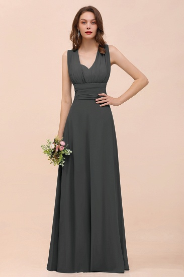 New Arrival Dusty Blue Ruched Long Convertible Bridesmaid Dresses_46