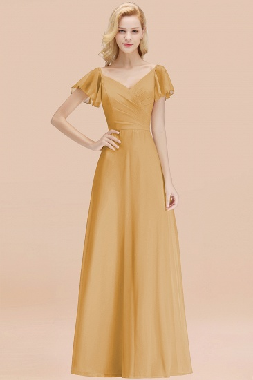 Elegent Short-Sleeve Long Bridesmaid Dress Online Yellow Chiffon Wedding Party Dress_13